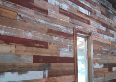 gray and red barn siding