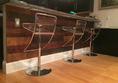 reclaimed custom mix barn siding on bar