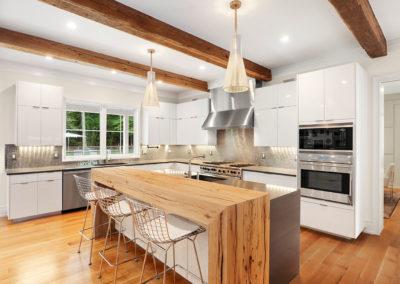 modern reclaimed wood beams with custom resawn wood beam counter
