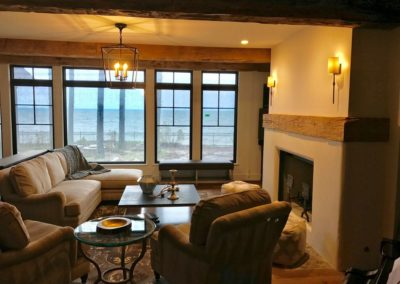 hand hewn mantle and wood beams
