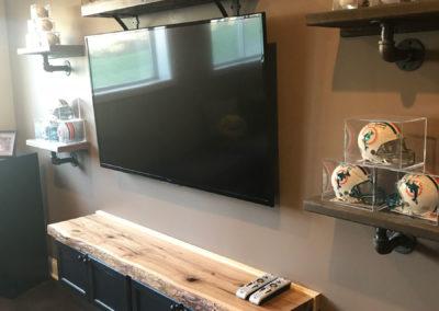 reclaimed live edge wood shelf