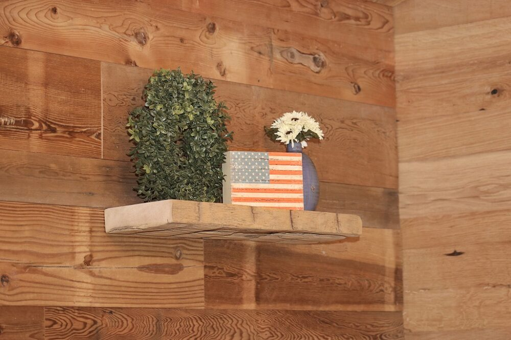 reclaimed hand hewn wood shelf