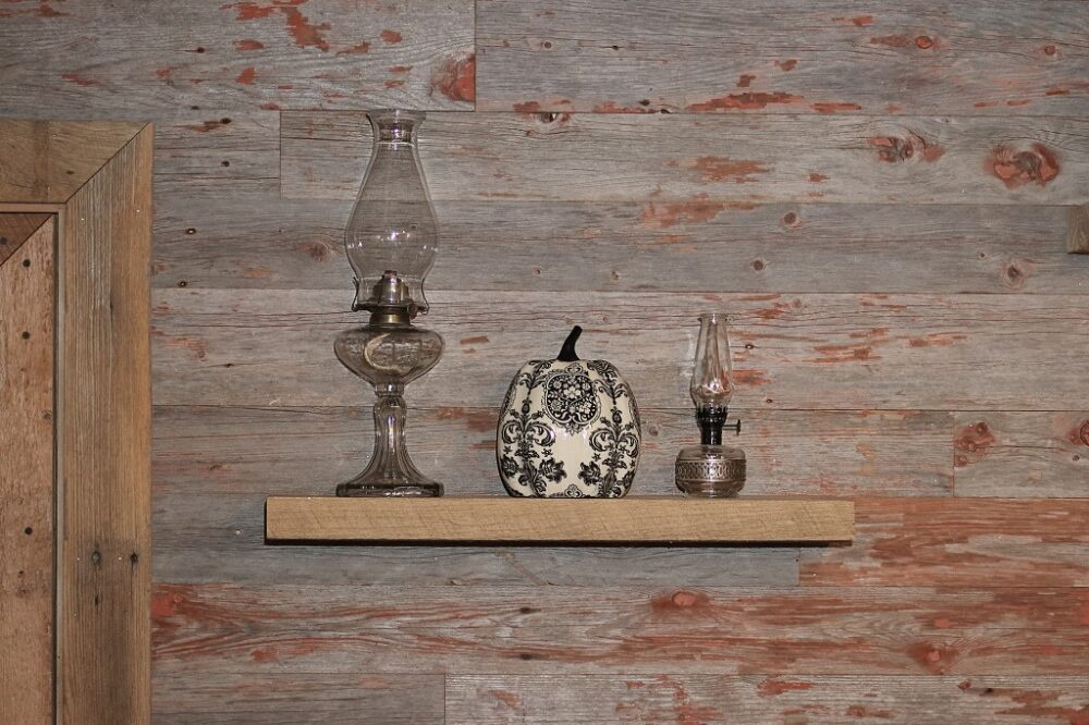 reclaimed wood circle sawn floating shelf