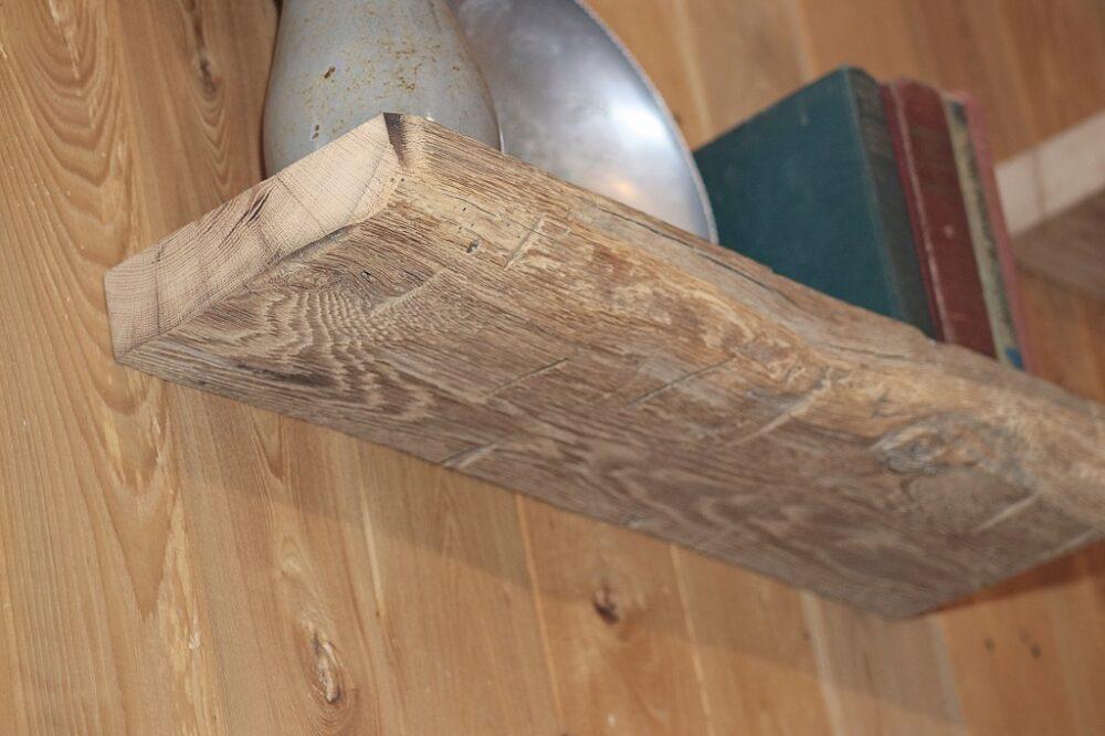 reclaimed wood hand hewn floating shelf